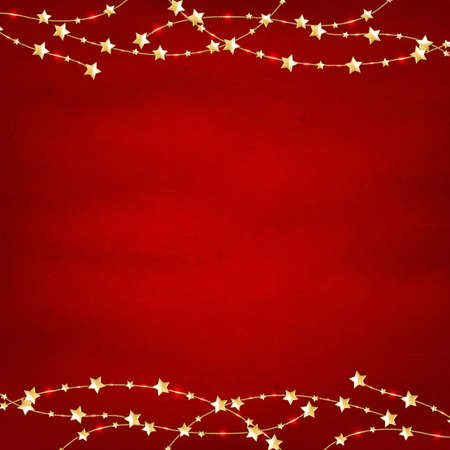 feasts: Xmas Red Retro Background With Gold Stars Garland With Gradient Mesh, Vector Illustration