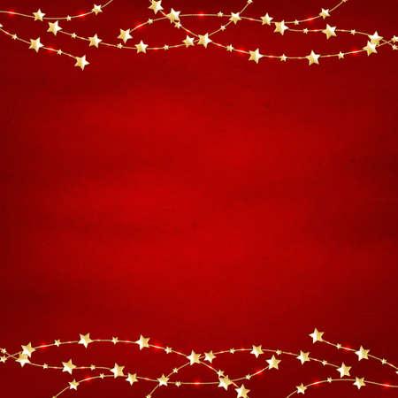 högtider: Xmas Red Retro bakgrund med guldstjärnor Garland Med Nätövertoning, vektor, Illustration Illustration