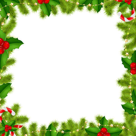 holly berry: Border Fir-tree Branches With Gold Stars And Holly Berry Isolated On White Background With Gradient Mesh, Vector Illustration Illustration