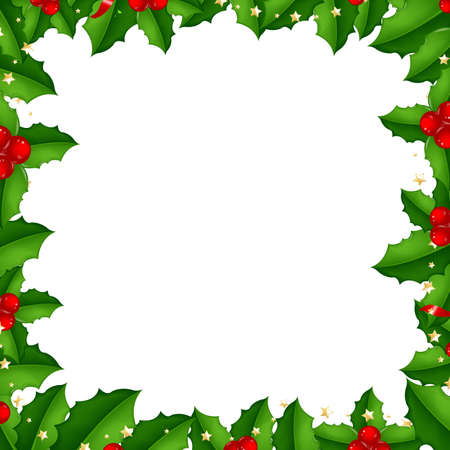 Border With Holly Berry, Isolated On White Background With Gradient Mesh, Vector Illustration Vector