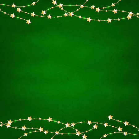 Xmas Green Retro Background With Gold Stars Garland, Isolated On White Background With Gradient Mesh, Vector Illustration Vector