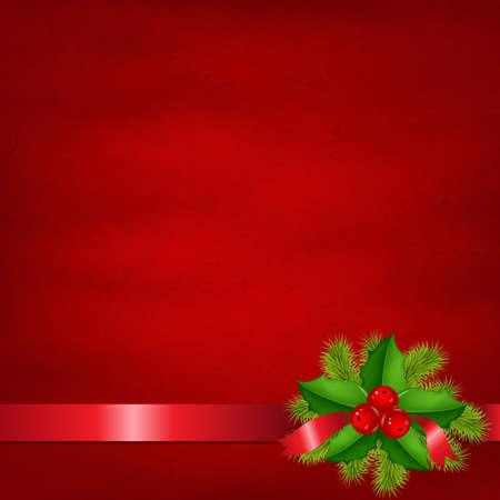 Holly Berry Met Rode Achtergrond, Geà ¯ soleerd Op Witte Achtergrond Met Verloopnet, Vector Illustratie