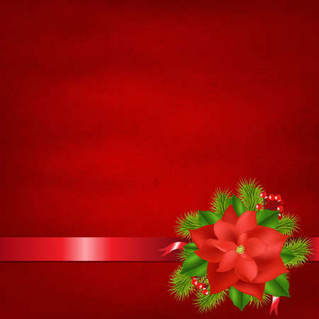 holly berry: Red Background With Poinsettia And Ribbons With Gradient Mesh, Vector Illustration