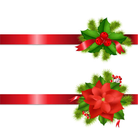Winter Flower And Berry With Ribbons Isolated On White Background With Gradient Mesh, Vector Illustration 일러스트