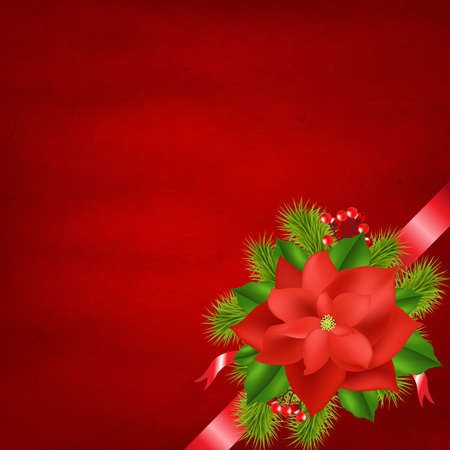 poinsettia: Winter Flower With Red Background With Gradient Mesh, Vector Illustration
