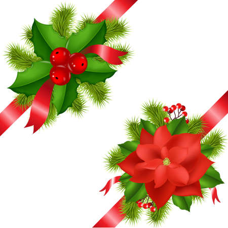 Winter Flower With Ribbons Isolated On White Background With Gradient Mesh, Vector Illustration