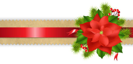 xmas floral: Old Paper Divider With Red Ribbon Poinsettia With Gradient Mesh,  Illustration Illustration