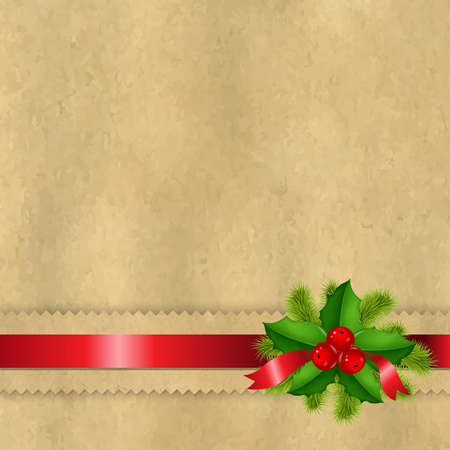 Vintage Paper With Divider And Holly Berry With Gradient Mesh,  Illustration Stock Illustratie