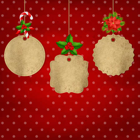 comida de navidad: 3 Vintage Navidad Etiqueta Con Holly Berry Con Gradient Mesh, Ilustración