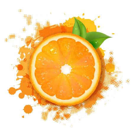 그라디언트 메쉬, 일러스트와 함께 오렌지와 오렌지의 Blob과 녹색 잎 테두리 일러스트