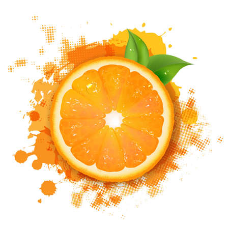 Orange With Orange Blob And Green Leaves Border With Gradient Mesh,  Illustration
