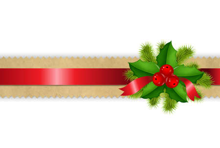 holly berry: Retro Divider Ribbon With Holly Berry Isolated On White Background, With Gradient Mesh,  Illustration