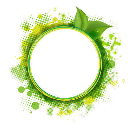 Speech Bubble With Green Blob And Leaves With Gradient Mesh,  Illustration Stock Vector - 16835403