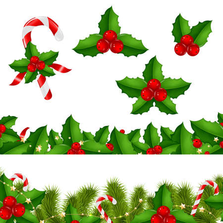 aquifolium: Borders Fir-tree With Holly Berry With Gradient Mesh, Vector Illustration Illustration