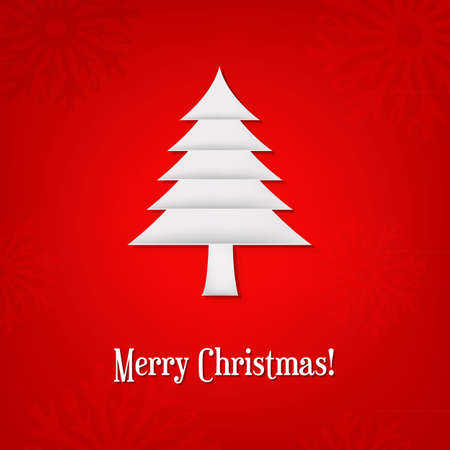 Christmas Card With Paper Fir-tree With Gradient Mesh, Vector Illustration Stock Vector - 17331821