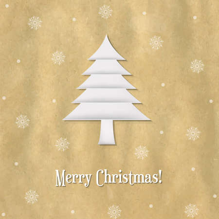 Christmas Paper Card With Paper Fir-tree With Gradient Mesh, Vector Illustration Vector