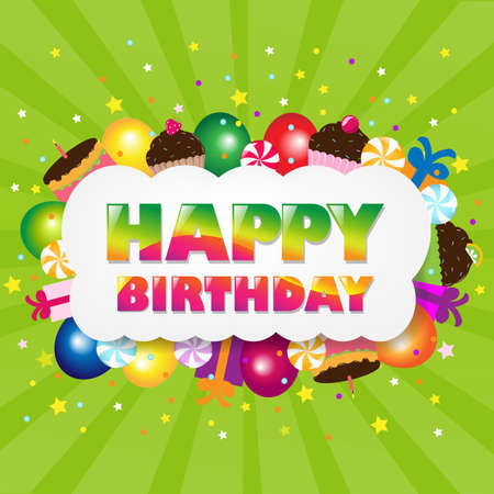 Birthday Cloud With Green Sunburst With Gradient Mesh, Vector Illustration Vector
