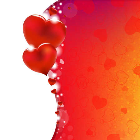 february 14th: Background From Red Hearts With Gradient Mesh, Vector Illustration Illustration