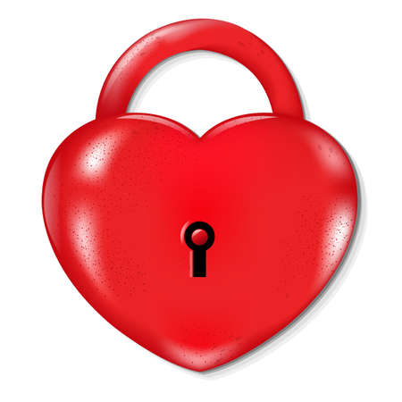 Heart Lock With Gradient Mesh, Isolated On White Background, Illustration Vector