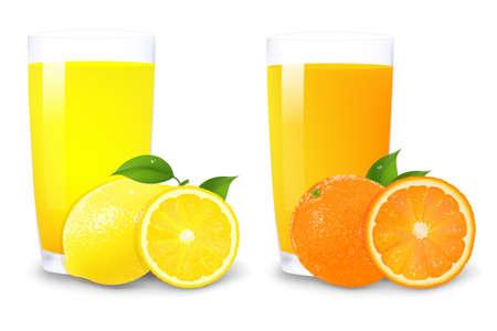 흰색 배경에 고립 그라디언트 메쉬와 레몬과 오렌지 주스와 오렌지 조각, 벡터 일러스트 레이 션