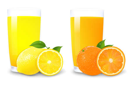Lemon And Orange Juice And Slices Of Orange With Gradient Mesh, Isolated On White Background, Vector Illustration Ilustração
