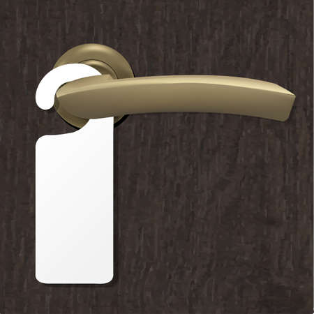 room door: Do Not Disturb Sign With Copper Door Handle With Gradient Mesh, Illustration Illustration