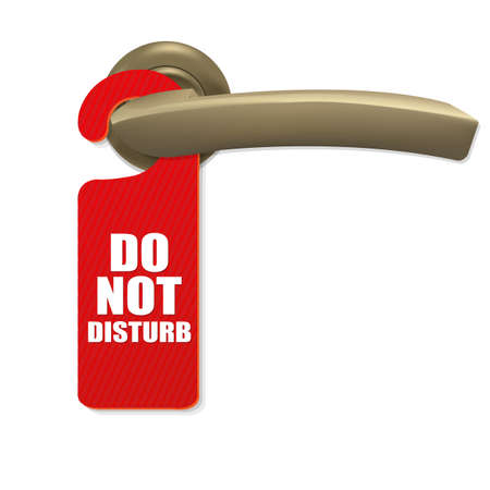 Do Not Disturb Sign With Copper Door Handle With Gradient Mesh, Isolated On white Background, Vector Illustration Vector