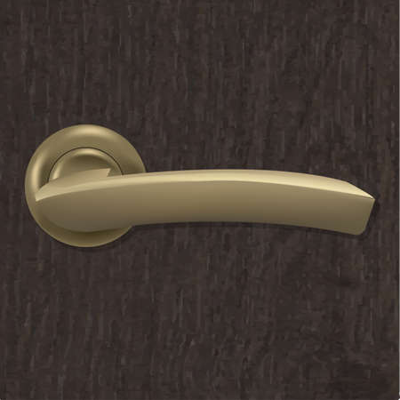 Door Handle On Wooden Background With Gradient Mesh, Illustration Vector