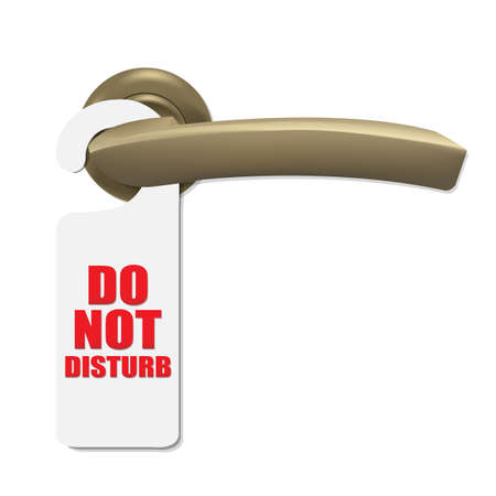 Do Not Disturb Sign With Door Handle, Isolated On White Background, Vector Illustration