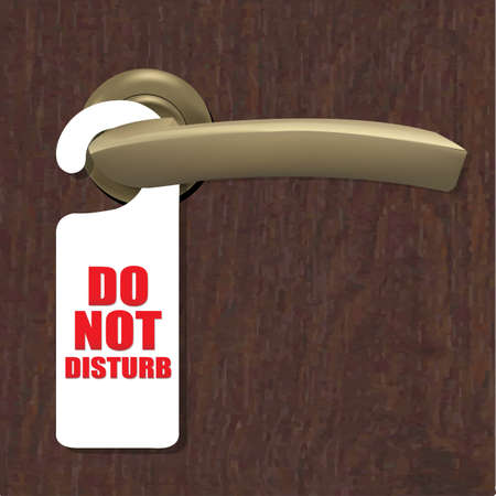 room door: Do Not Disturb Sign With Door Handle And Wooden Background With Gradient Mesh, Vector Illustration