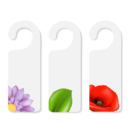 disturb: 3 Do Not Disturb Signs, Isolated On White Background, Vector Illustration