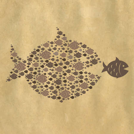 Fish Icons, Isolated On Retro Paper Background, Vector Illustration Vector