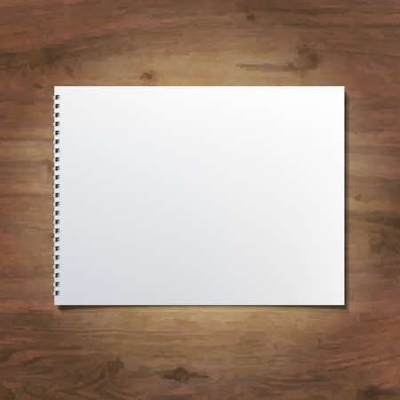 Notebook On Wooden Background, Vector Illustration