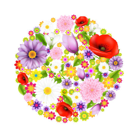 Sphere From Flowers, Postcard With Color Flowers With Gradient Mesh, Vector Illustration