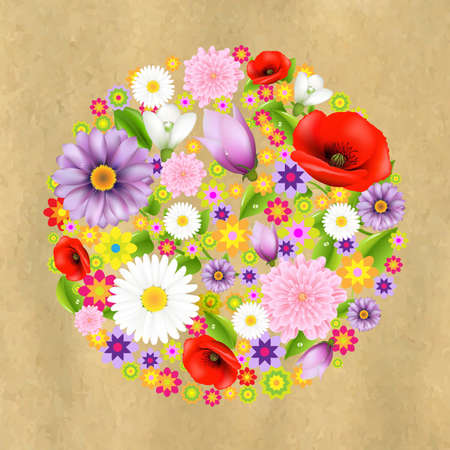 Sphere From Flowers With Old Paper With Gradient Mesh, Vector Illustration Vector