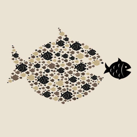 Fish Icons, Isolated On Retro Paper Background, Vector Illustration Stock Vector - 18430004