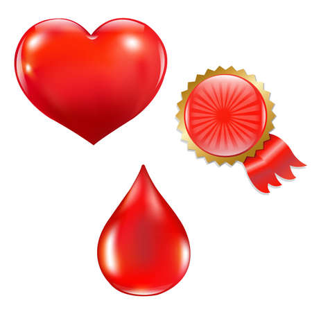 Collection With Blood Drop And Heart With Gradient Mesh, Isolated On White Background, Vector Illustration Stock Vector - 18545246