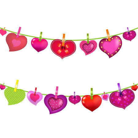 14 february: Color Hearts On Clothespegs With Gradient Mesh, Isolated On White Background, Vector Illustration Illustration