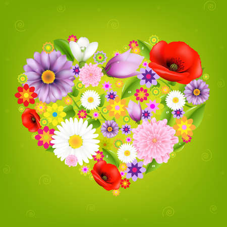 Heart From Flowers With Green Background With Gradient Mesh, Isolated On Green Background, Vector Illustration Vector