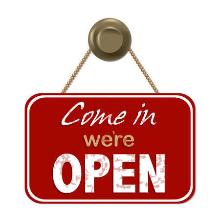 welcome sign: Vintage Red Sign Ouvrir avec poign�e de porte avec filet de d�grad�, Isol� Sur Fond Blanc, Vector Illustration