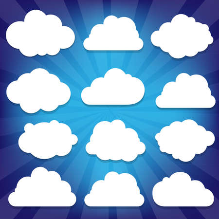 cloud cover: Clouds Set And Blue Sunburst With Gradient Mesh, Vector Illustration