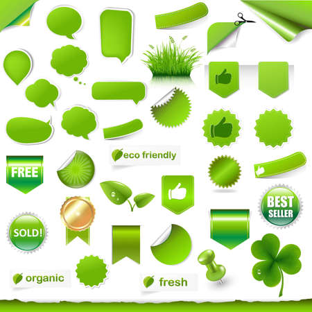 Big Green Labels, Ribbons And Objects Set With Gradient Mesh, Vector Illustration Vector