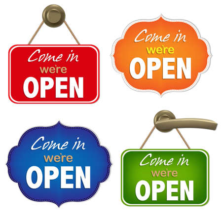 open sign: Vintage Open Sign Set With Gradient Mesh, Vector Illustration