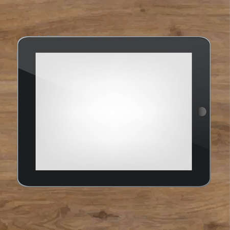 touchpad: Wood Background With Black Tablet Pc With Gradient Mesh, Vector Illustration