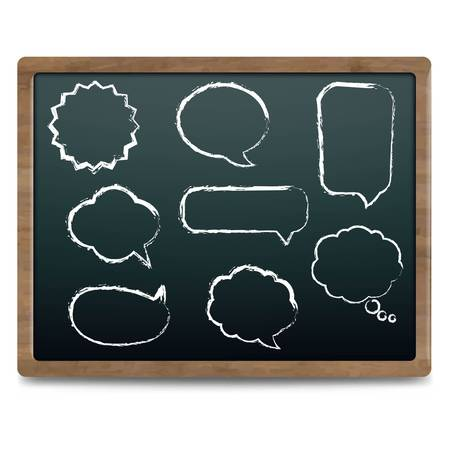 Black Chalk Board With Speech Bubble Set,  Illustration Vector