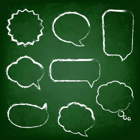 Green Chalk Board With Speech Bubble Set,  Illustration
