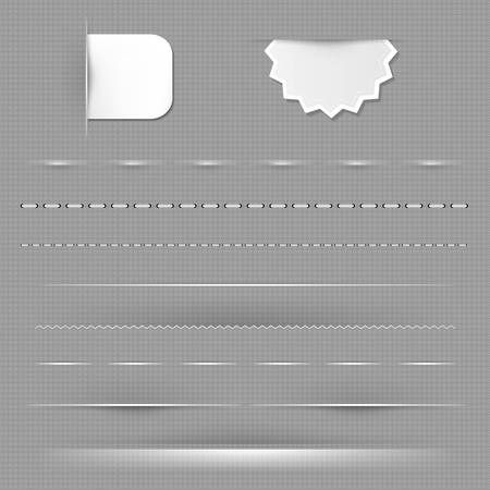 Set Of Dividers With Grey Background With Gradient Mesh, Vector Illustration Vector