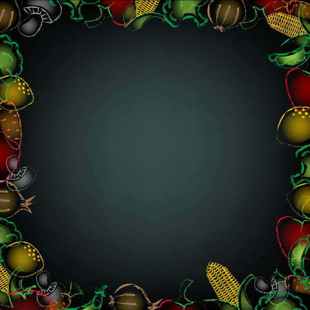Black Background With Drawn Vegetables Border, With Gradient Mesh, Vector Illustration Vector