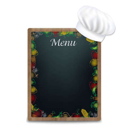 Black Board With Vegetables Border, With Gradient Mesh, Vector Illustration Vector