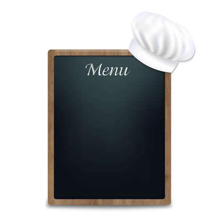 그라디언트 메쉬, 벡터 일러스트와 함께 요리사 모자와 검은 분필 보드 일러스트